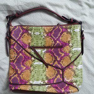 Sondra Roberts Squared Purse - purple green tan